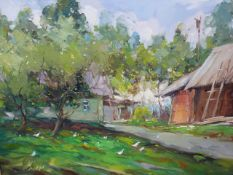ALEXANDER KOLOTILOV. (RUSSIAN 1946-) TWO RURAL LANDSCAPES SIGNED AND INSCRIBED ON REVERSE, OIL ON
