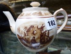 A RARE GRIMWADES BAIRNSFATHER WARE TEAPOT, A SOUVENIR OF THE GREAT WAR.