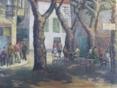CIRCLE OF FRANCOIS MASSON (FRENCH 20th.C.) THE CAFE SCENE, OIL ON BOARD. 104 x 122cms.