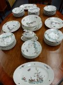 A CONTINENTAL ANTIQUE PORCELAIN PART DINNER SERVICE DECORATED WITH MEISSEN STYLE POLYCHROME BIRD AND