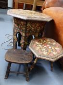 A KASHMIRI OCTAGONAL TOP STAND WITH OVERALL FLORAL DECORATION. D.50 H.54cms, A SIMILAR SMALL
