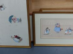 FOUR VINTAGE TEXTILE PANELS, THREE WITH PAINTED SCENES OF CHILDREN AND BUTTERFLIES ON SILK AND