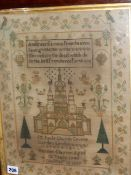 A VICTORIAN NEEDLEPOINT SAMPLER WITH A SCENE OF ST.PAUL'S CHURCH, COVENT GARDEN BELOW VERSE WITH
