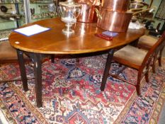 A GOOD QUALITY MAHOGANY GEORGIAN STYLE WAKE/DINING TABLE, EIGHT LEGS WITH GATELEG ACTION AND OVAL