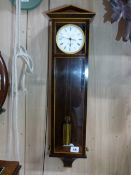 A FINE SMALL SINGLE WEIGHT REGULATOR WALL CLOCK IN MAHOGANY AND BOX STRUNG CASE WITH GILT BRASS
