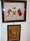 TWO COMMEMORATIVE NEEDLEWORK PANELS BOTH WITH INSET PORTRAIT PHOTOGRAPHS SURROUNDED BY FLAGS.