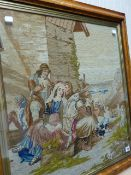 A VICTORIAN NEEDLEPOINT PICTURE OF TRAVELLERS LOOKING OUT TO SEA IN MAPLE FRAME AND DATED 1861. 63 x
