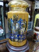 A LARGE VICTORIAN GILT AND POLYCHROME DECORATED GLASS APOTHECARY JAR WITH COVER, ORDER OF THE GARTER