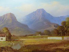 DANTE VAN NIEKERK (20th.C.) SOUTH AFRICAN LANDSCAPE, SIGNED OIL ON BOARD. 60 x 90cms.