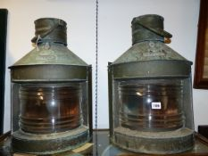 A PAIR OF ANTIQUE SHIP'S COPPER LANTERNS LABELLED PORT AND STARBOARD.MAKER'S PLATE WM.WEBSTER &