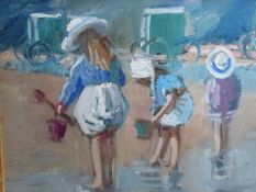 MARGARET PALMER (1922-) BATHING MACHINES AND BUCKETS AND SPADES, ONE INITIALLED OIL ON BOARD.