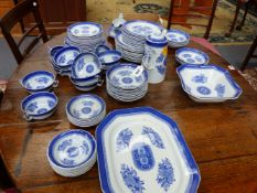 A COPELAND SPODE FITZHUGH PATTERN PART DINNER SERVICE TO INCLUDE SERVING DISHES, COFFEE POT,ETC.