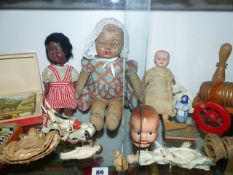SIX VARIOUS VINTAGE DOLLS, A METAL MUFFIN THE MULE PUPPET AND OTHER TOYS.