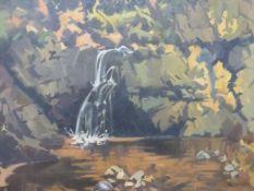 KONRAD (20th.C.SCHOOL) A WOODED RIVER SCENE, SIGNED, OIL ON BOARD. 60 x 79cms.