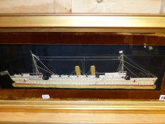 A VINTAGE SILKWORK PANEL OF THE HOSPITAL SHIP H.M.S.CHINA WITH RELATED HISTORY VERSO. 17 x 54cms