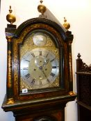 "AN 18th.C.8 DAY LONG CASE CLOCK IN GREEN CHINOISERIE DECORATED CASE. 12"" BRASS DIAL WITH"