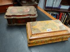 TWO ANTIQUE ITALIAN FLORAL DECORATED DRESSER BOXES, BOTH OFSHAPED FORM, LARGEST. W.29cms.