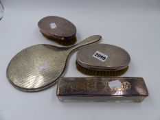 A HALLMARKED SILVER DRESSING TABLE MIRROR, TWO SILVER MOUNTED BRUSHES, ETC.