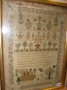 AN EARLY 19th.C.VERSE AND SCENIC SAMPLER BY MARY STANLEY 1826, TIERS OF FLOWERING PLANTS WITH