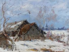 ALEXANDER KOLOTILOV. (RUSSIAN 1946-) TWO WINTER LANDSCAPES BOTH SIGNED, OIL ON CANVAS AND OIL ON