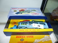 A DINKY 990 PULMORE CAR TRANSPORTER SET WITH FOUR CARS AND INCLUDING A BOXED 994 LOADING RAMP.