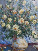 ALEXANDER KOLOTILOV. (RUSSIAN 1946-) WHITE ROSES, SIGNED OIL ON CANVAS AND INSCRIBED ON REVERSE.