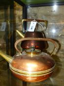 A W.A.S.BENSON COPPER AND BRASS KETTLE WITH RAFFIA HANDLE AND ANOTHER BY BENHAM & FROUD, DESIGNED BY