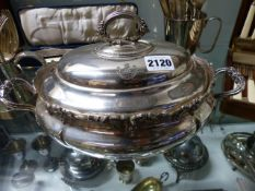 A LARGE COLLECTION OF SILVERPLATED WARES TO INCLUDE TUREENS, TRAYS, CUTLERY,ETC.