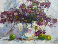 ALEXANDER KOLOTILOV (RUSSIAN 1946-) TWO FLORAL STILL LIFE, BOTH SIGNED AND INSCRIBED ON REVERSE, OIL