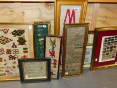 A GROUP OF VARIOUS FRAMED ANTIQUE NEEDLEPOINT AND LACE PATTERN SAMPLES,ETC.