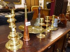 TWO 18th.C.BRASS CANDLESTICKS, A HUNTING HORN, A SKIMMER AND OTHER ITEMS. (QTY)