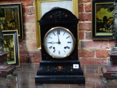 A VICTORIAN EBONISED MANTLE CUCKOO CLOCK WITH TWIN FUSEE MOVEMENT AND WHITE ENAMEL DIAL. H.45cms.