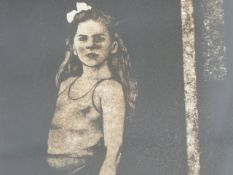 20th.C. TWO PENCIL SIGNED LIMITED EDITION SOFT GROUND ETCHINGS OF CHILDREN. 53.5 x 37cms.