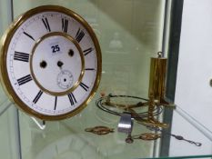 A 19th.C.VIENNA WALL CLOCK MOVEMENT COMPLETE WITH MOUNTS, GONG AND ONLY ONE WEIGHT