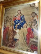 A LARGE GILT FRAMED VICTORIAN NEEDLEPOINT PICTURE OF CHRIST AND FOLLOWERS. OVERALL 90 x 80cms.