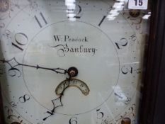 "AN 18th.C.PAINTED PINE CASED 30 HOUR LONG CASE CLOCK WITH 11"" PAINTED DIAL SIGNED W.PEACOCK,"