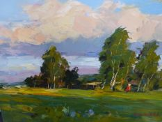 ALEXANDER KOLOTILOV (RUSSIAN 1946-) TWO RURAL LANDSCAPES, BOTH SIGNED AND INSCRIBED ON REVERSE,
