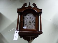 "AN 18th.C.HOODED BRACKET WALL CLOCK WITH ALARM 4.5"". ARCHED SILVERED DIAL SIGNED JNO.CLEMENT,TRING"