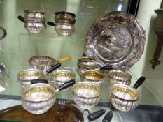 A COLLECTION OF BRANDY WARMERS ALL WITH DANISH MARKS AND A FURTHER LARGER BRANDY WARMER STAMPED A.