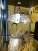 TWO UNUSUAL VICTORIAN INKWELLS WITH SILVER PLATE MOUNTS, THE WELLS WITHIN TWO PAIRS OF HOOVES WITH