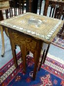 TWO MOORISH INLAID STANDS BOTH WITH CALLIGRAPHY AND MOTHER OF PEARL DECORATION. H.