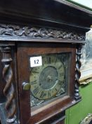"AN 18th.C.AND LATER OAK CASED GRANDMOTHER CLOCK WITH EIGHT DAY BELL STRIKE MOVEMENT, 6""BRASS DIAL"