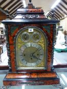 A FINE 19th.C.BRACKET CLOCK WITH TORTOISESHELL AND BRONZE MOUNTED CASE, THREE TRAIN FUSEE MOVEMENT
