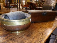 A 19th.C.BRASS BOUND TURNED BOWL, A SMALL COOPERED BARREL AND AN IRON BOUND SMALL PINE BOX.