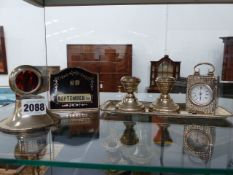 A HALLMARKED SILVER CASED DRESSING TABLE CLOCK WITH A FRENCH MOVEMENT, A SILVER AND TORTOISE SHELL