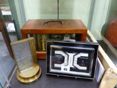 A 20th.C.MAHOGANY CASED BAROGRAPH WITH INTEGRAL THERMOMETER TOGETHER WITH A ZEISS ART DECO DESK