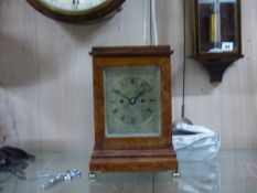 A FINE 18th/ 19th.C.FOUR GLASS TABLE CLOCK WITH BIRDS EYE MAPLE CASE ON BRASS BUN FEET. ENGRAVED