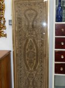 TWO ANTIQUE EASTERN, POSSIBLY TURKISH, SILK AND METALLIC THREAD WORKED PANELS OF SCROLLS AND