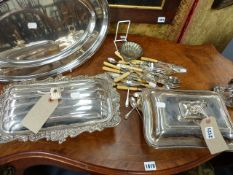 TWO SILVER PLATED TUREENS, A SERVING TRAY, CUTLERY,ETC.