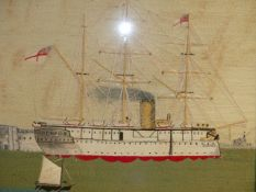 A VINTAGE WOOLWORK PICTURE OF H.M.S.JUMNA IN MAPLE FRAME, HISTORICAL DETAILS VERSO. 51 x 59cms.